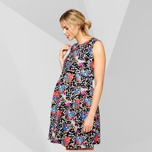 ASOS Maternity Floral Skater Textured Mini Dress 6